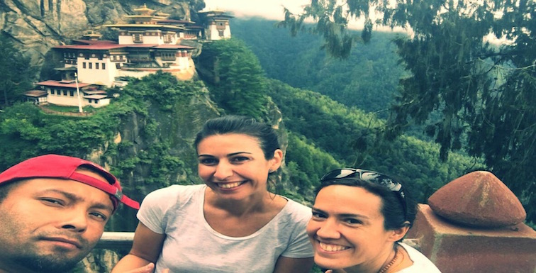 Sylvia and her Friend posing with Guide Bijay